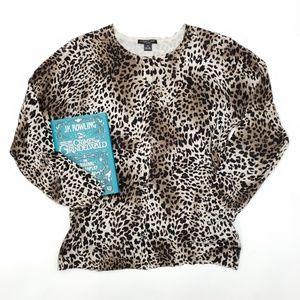August Silk Woman Cheetah Print Cardigan - SZ 1X
